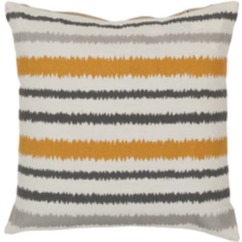 Ikat Stripe Burnt Orange, Grey, & Ivory Pillow design by Surya