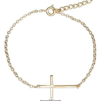 """Sterling Silver 7-8"""" Adjustable Gold Colored Sideways Cross With Cubic Zirconia Bracelet"""