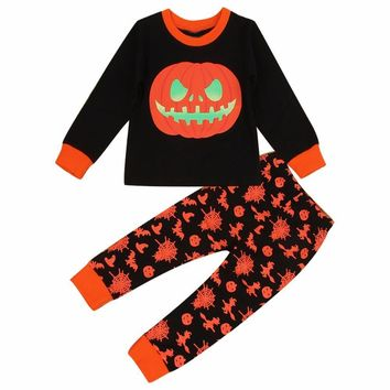 Autumn Halloween Pumpkin 2pcs Clothes set kids baby Boy Girl Long Sleeve T Shirt Tops Pajamas print Pants Outfit costume suit