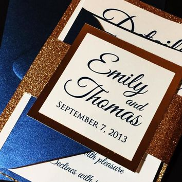 Navy and Gold Glitter Wedding Invitation, Elegant Wedding Invitation - EMILY VERSION