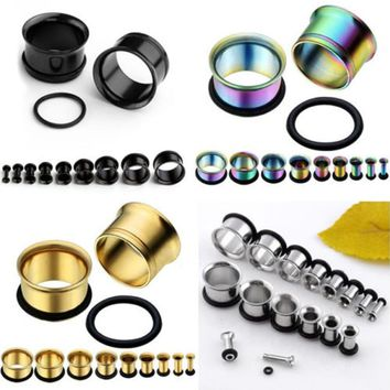 Ear Expander Body Piercing Jewelry 1 Pair Stainless Steel Single Flare Flesh Tunnel Ear Plugs Expander 2-14mm Ear Stretcher