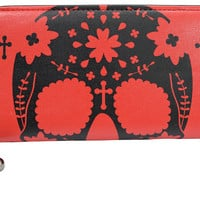 Banned Rockabilly Day of the Dead Flower Sugar Skull Red Zip Around Wallet