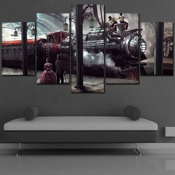 5 Piece Steampunk Train Poster  Canvas Print Train Station Locomotive And People Painting Modern Home Decor Artwork Framework