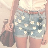 High Waist Blue Denim Shorts - w/ White Heart Prints from Brumaire Boutique