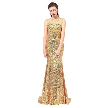 o-neck spandex cap sleeve  sequin appliques long evening dress backless sexy evening dress 2017 vestido de festa longo