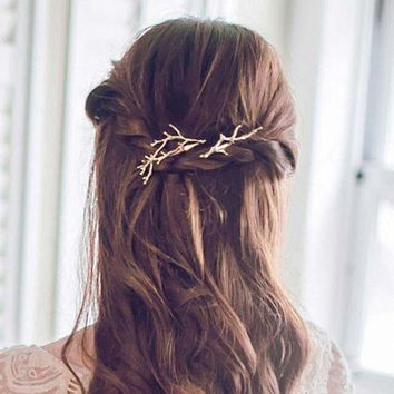 ac spbest AIWGX New Girls Individuality Exaggeration Silver/gold Antler Hair Clips Hairpins Hair wear Accessories Fashion Jewelry
