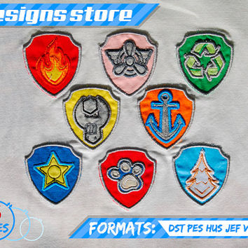 Paw Patrol Applique DesignSet BADGE EMBROIDERY pattern