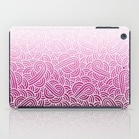 Ombre pink and white swirls zentangle iPad Case by Savousepate