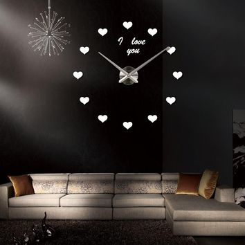 Love and Hearts Mirrored Wall Clock