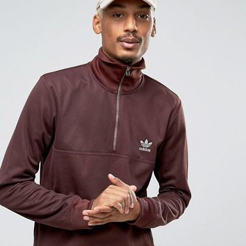 adidas Originals Fallen Future Half Zip Sweat In Burgundy BR1816 at asos.com