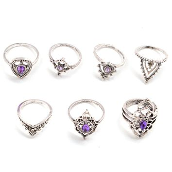 7 Pcs/Set Women Bohemian Crown Hollow Water Drop Carved Flower Geometric Joint Knuckle Rings New Arrival 2017 Fashion Gift