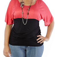 Plus-Size Colorblock Ruched Leopard Top with Necklace - Rainbow
