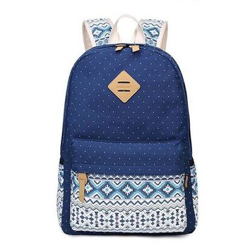 CREYCI7 Korean Canvas Printing Backpack Women School Bags for Teenage Girls Cute Bookbags Vintage Laptop Backpacks Female