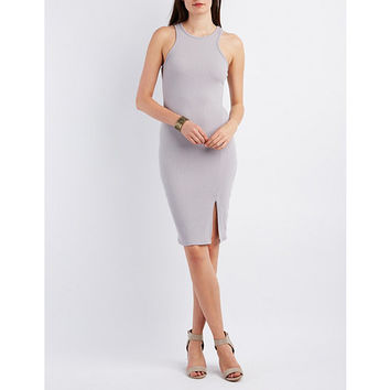 Ribbed Racer Front Bodycon Dress