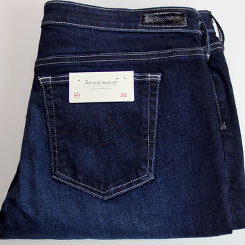 AG ADRIANO GOLDSCHMIED THE STILT ROLL UP CIGARETTE JEANS NAVY 32