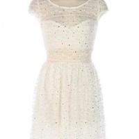 Snow Angel Cap Sleeve Sequin Lace Dress in White | Sincerely Sweet Boutique