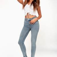 Long and Lean High-Waisted Light Wash Denim Jeggings
