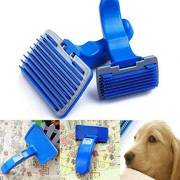1X Pet Dog Cat Grooming Self Cleaning Slicker Brush Comb Hair Shedding Tool