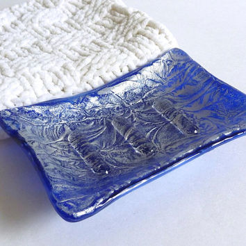 Cobalt Blue and Silver Fused Glass Soap Dish