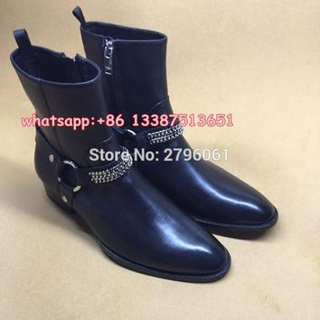 Best-selling fall Classic Chain Harness Boot stacked heel Western-inspired style men's boots Rome Style Man Ankle boots shoes