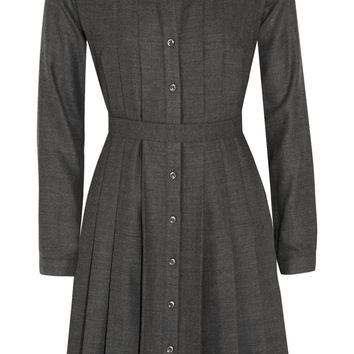 A.P.C. Atelier de Production et de Création - Pleated wool-flannel dress