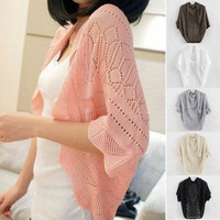 Women Hollow Out Batwing Sleeve Knitted Crochet Cardigans Outwear Sun-shading Outwear Clothes = 1920377156