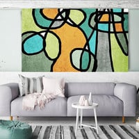 """Vibrant Colorful Abstract-0-41. Mid-Century Modern Green Canvas Art Print, Mid Century Modern Canvas Art Print up to 72"""" by Irena Orlov"""