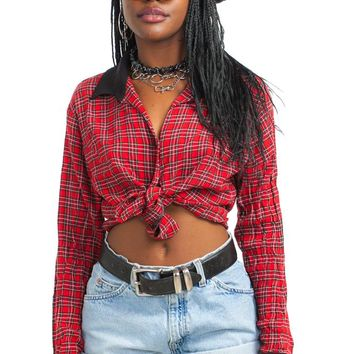 Vintage 90's Classic Dolly Plaid Button-Up Shirt - One Size Fits Many