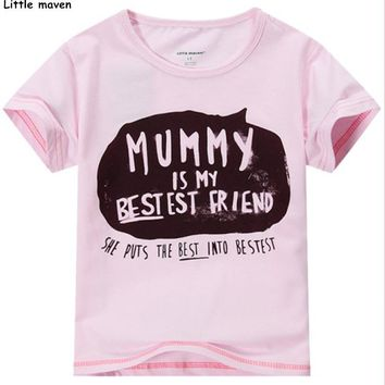 Little maven 2016 new summer baby girls funny t shirt Cotton letter printing mummy my best friend brand shirts tee tops L015