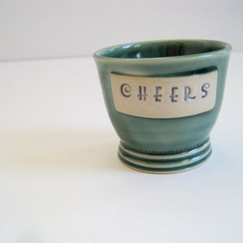 Handmade Stoneware Ceramic Shot Glass 'Cheers' in Yellie Cellie Teal Green