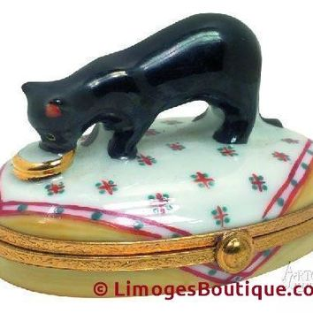 Black Cat With Gold Dish Limoges Boxes