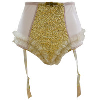 AURELIA Gold Sequins Sparkle and Raffles suspender high brief Short , Vintage wedding, Burlesque lingerie