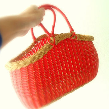 vintage red bag- straw/plastic brown/red basket- vintage shopper- home decor- woman accessories- kitchen storage for shoppings