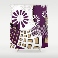 Squares spiral geometrical Shower Curtain by LoRo  Art & Pictures