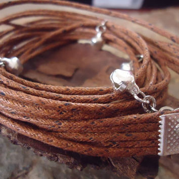BELL IN BROWN  brown wrap bracelet with bells
