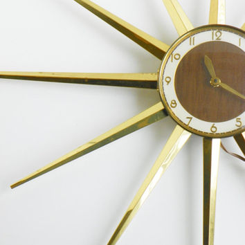 Vintage Brass Wall Clock- Starburst