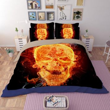 3D human skeleton black skull bedding set