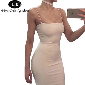 NewAsia Garden Double Layered Cotton Bodycon Dress Sexy Summer Dress Tank Sleeveless Party Dress Club Bandage Dresses Vestidos