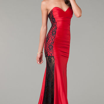 Red Strapless Sweetheart Lace Spliced Fishtail Maxi Evening Dress