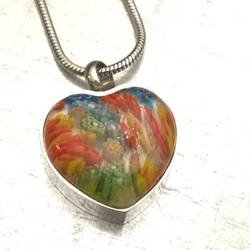 Cremation Necklace, Millefiori Glass Heart Urn, Red Urn Locket, Ashes Holder Necklace, Cremation Locket, Memory Locket, Cremation Jewelry