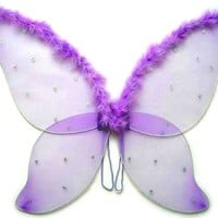 Large Purple Fairy Wings with Feather (33 in)