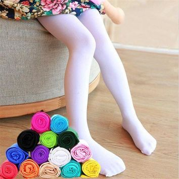 CREY6F Kid's girl Summer solid candy color children's Opaque velvet white Pantyhose soft stretch Ballet dance leggings stocking-1