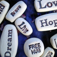 Six Pocket Message Stones, Stamped Word Rocks, Handmade with Porcelain Clay