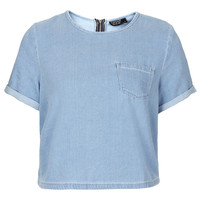 MOTO Bleach Pocket T-Shirt - Denim - Clothing - Topshop USA