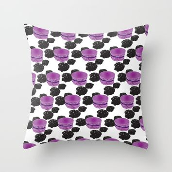 Blackberry Macaron Throw Pillow by ES Creative Designs