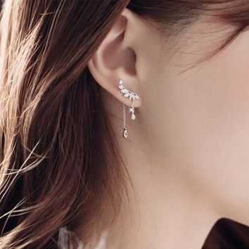 Hot Real 925 Sterling Silver Long Crystal Stud Earrings For Women Christmas Gift Fashion sterling-silver-jewelry