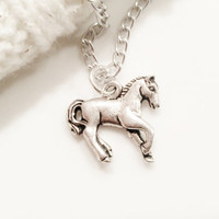 Horse Necklace Silver Charm Women Jewelry Teen Tween Jewelry Gift