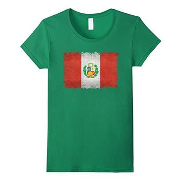 Peruvian Flag T-Shirt in Vintage Retro Style