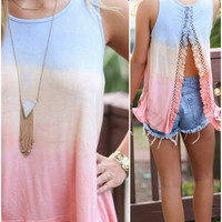Sunset Spectrum Tie-Dye Fringe Fly Back Tank