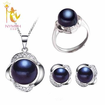 [NYMPH] Wedding Pearl Jewelry Set Fine Jewelry Real Freshwater Pearl Necklace Pendant Earrings Trendy For WomenT20